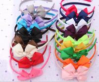 Wholesale 30pcs Color Children Hair Accessories Girl Ribbon Bows Hair Bands Baby Performances Headdress Hair Bows Baby Flower Headbands Hair Sticks