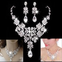 Wholesale Womens Fashion Wedding Dangle Earrings Crystal Pendant Necklace Jewelry Set