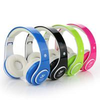 Wholesale Caliente BOAS auriculares Bluetooth auricular de la música estéreo plegable tarjeta TF con Mic micrófono para el iPhone s más Galaxy HTC