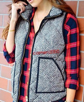 Wholesale New Excursion Quilted Puffer Herringbone Vest M L XL XXL Grey Standing colla Women s cotton