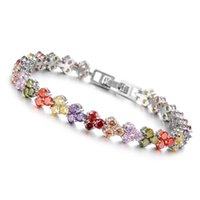 Wholesale Hot New Fashion Platinum Plated Bracelets For Women Full Multi Color Crystal Heart Luxury Jewlery Mulheres Pulseira