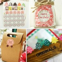 Wholesale New Christmas Series Gift Package Sealing Stickers Cookie Candy Nuts Food Bag Package Paper Label Party Decoration