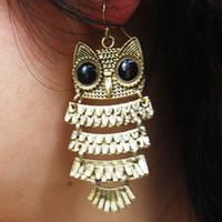 Wholesale 2015 New Fashion Owl Dangle Exquisite Earrings Chic Retro Style Cute Animal Owl Dangle Ear Hook Earrings