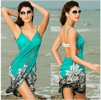 sexy summer dresses fashion - Fashion summer solid bikini swimsuits dress holiday beach casual V Neck printing Cover Ups swimwear free size sexy one pice swimsuit WS049