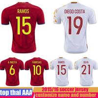 Wholesale top Quality Camiseta de futbol SPAIN EuroCup Jersey soccer shirt INIESTA DIEGO COSTA FABREGAS SILVA RAMOS ISCO Jersey Football shirt
