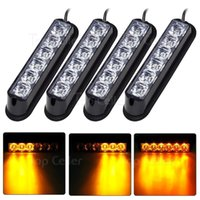 acura grille - 4pcs LED W Car Truck Auto Grille Deck Strobe Warning Flash Light Amber Yellow V