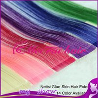 Wholesale Neitsi quot Synthetic Fiber Glue Skin Ombre Weft Hair Extensions color available