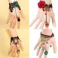 slave bracelets - 12pcs mixed order Vintage Flower Bronze Charm Black White Lace Slave Bracelet