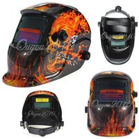 Wholesale Skull Head Flame skeleton Solar Auto Darkening Welding Helmet Mask Welder Cap Welder Goggles Welding Tool UV IR protection