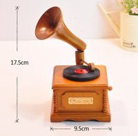antique wooden music box - Vintage graphophone wooden music box birthday gift novelty girl s gift