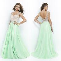 Wholesale Blush Mint Green Long Prom Dresses V Neck Sleeveless Floor Length Beading Chiffon A Line Party Graduation Dresses EA0095