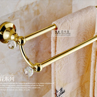 Wholesale And Retail Wall Mounted Golden Brass Bathroom Towel Bars Towel Rack Holder W Crystal Hangers