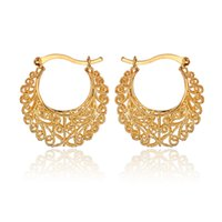 basketball wives earrings - Hot Item K Real Gold Plated Hollow Flowers Hoop Earrings Basketball Wives Earrings Fashion Jewelry For Women E6771