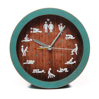 Wholesale Hot Vintage Style Clock Funny Sex Position Cre ative Bell Blue Alarm Clocks Silent Kinds Position Bedroom Decoration Wall