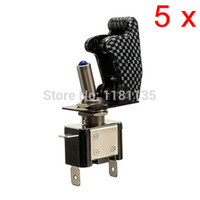 Wholesale 12V A Car Auto Cover Toggle Switch Control On Off Carbon Fiber SPST Red Green Yellow White Blue Led Color