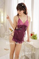 Envío gratuito de las mujeres púrpuras tentación Lencería Sexy encaje sujetador tanga Panty lencería muñecas Sexy ropa de dormir Dropship Venta por mayor US1530