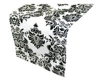 Wholesale lotblack and white damask table runner black and white wedding flocking taffeta tablecloth