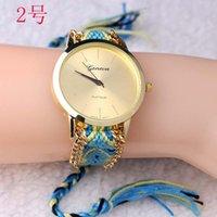 Precio de Gifts-10pcs En stock de la Marca hecho a Mano Trenzada Amistad Pulsera de Reloj de GINEBRA Tejida a Mano Señoras Reloj de Quarzt Relojes de Regalo de las mujeres