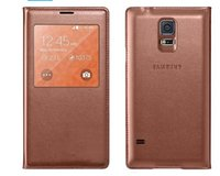 Wholesale S View Flip Leather Case with Open Window Battery Door Housing Back Cover for Samsung Galaxy S5 I9600 Retail Package Cell Phone Cases