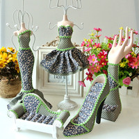jewelry doll stand - Mannequin Jewelry Display Stand Set Sofa High heeled Shoes Ring Holder Skirt Dress Doll Necklace Earring Jewelry Organizer Gift