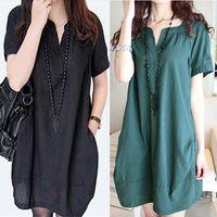 xxl clothes - Korean Fashion Dots Linen V neck Maternity Dresses Dress Autumn Summer Loose Clothes for Pregnant Women Pregnancy Clothing M XXL