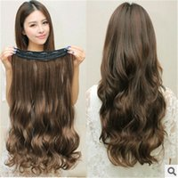 Wholesale Seamless Clips Thick Hair Pieces Hair Extensions Synthetic Hair Popular Women and Girls Long Body Wave Human Remy Hair Extensions J003