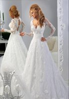 Cheap New Fashion A Line V Neck Long Sleeves Open Back White Lace Arabic Wedding Dresses 2015 Bridal Gowns Free Shipping