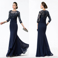 Wholesale Lace Hot Sale Half Sleeve Mermaid Beaded Chiffon Formal Evening Mother of the Bride Groom Dresses With Applique Beads A line Prom Gown