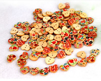 Wholesale 100Pcs Mixed Printed Holes Wood Buttons Cute Heart Shape Colorful Plum Flower Paint Design Clothing Accessories Sewing Buttons