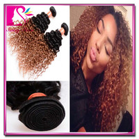 afro kinky human hair - Afro Kinky Curly Weave Tone Ombre Hair B Brazilian Hair Weave For Women Remy Human Hair Bundles Cheap Hair Extensions