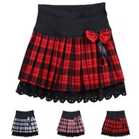 high school uniforms - Hot Preppy Style Women Skirt Plaid High Waist Skirt School Uniform Sweet Girls Bow Pleated Mini Skirt Women Clothing XB0082 kevinstyle