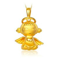 baby loves shopping - 3D999 angel baby super love gold pendant chain gold necklace women s K gold shop with money Euro coin sets of chain jewelry