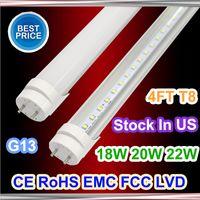 Wholesale Stock in US ft T8 Led Tube Light Super Brightness W W W Warm Cold White Fluorescent Tubes Bulbs AC110 V FCC