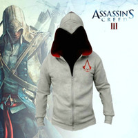 Wholesale Ubisoft New Assassin s Creed Desmond Miles Hoodie Costume Beaked Zip Coat Jacket Black White Version Game Cosplay Hoody