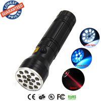 Wholesale Black LED Torch UV Red Laser Pointer Bright LED Aluminum Flashlight For Hiking