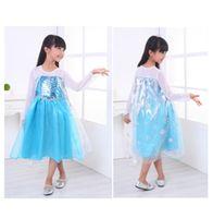Wholesale Frozen dress dresses Princess dresses Elsa Anna dresses Long sleeve baby girl dress material cotton Size