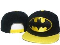 yellow baseball hat - 2015 New Black Yellow Batman Bat Man Snapback Hats Snapback Adjustable Hat Baseball Ball Caps Cap DD