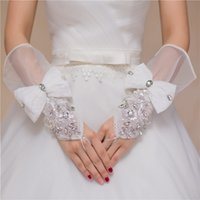 Wholesale New Arrival Cheap In Stock Crystal Fingerless Wrist Length With Bow Bridal Gloves Wedding Accessories Whole Cheap On Sale Wedding Gloves
