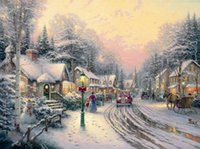beauty wall lights - Prints For Sale Thomas Kinkade A Light In The Storm Banksy landscape for painting Large Canvas Wall Oil Painting Beauty On