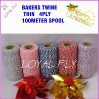 bakers boxes - 200pcy thin ply bakers twine m spool kinds color choose double color twine cotton twine used in gift box packing