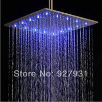 "Cheap Brushed Nickle finish Rainfall Shower Head LED 16""Color change overhead shower Head"