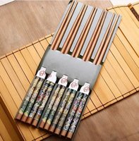 bamboo symbols - Favorite Pairs Exquisite Set Pairs Bamboo Cutlery Oil Painting Symbols Of Eternity Chopsticks Quality Charm Gift