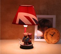 Wholesale Bear doll Desktop lamps children s room bedroom lovely bedside lamps garden fresh style creative small table lamp reading lamp Grizzlies