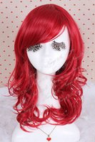 Cheap Ladies Heat-resistant Medium long red curly wavy cosplay party Full wig CW144C