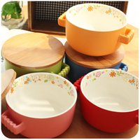 Cheap Lovely big bowl with cover ceramic bowl noodles cup Japanese dessert bowl bowl Steamed Rice household utensils