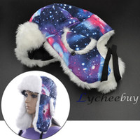 Wholesale 2015 New Design Galaxy print Pattern Winter Trooper Trapper Snow Ski Beanie Hat Russian Hat Sport Outdoor Earflaps Bomber Caps