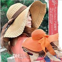 Wholesale Ms hat summer women s fashion casual beach a soft sun hat ribbon bow