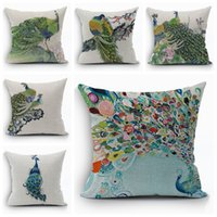 Wholesale green peacock cushion cover country bird decorative pillows case beautiful almofada square home decor funda cojin