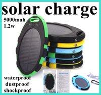 5000mAh cargador solar 5000 mah Magic Mirror suministro banco de la energía dual USB a prueba de agua a prueba de polvo de batería solar cargador de batería externo portable