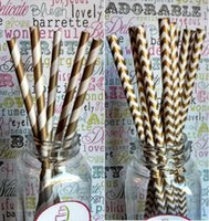 Wholesale 500pcs Gold Silver drinking paper straws Mixed Striped Stars Chevron patterns Retial Drop shipping